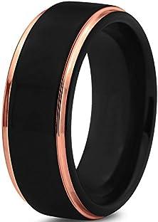 buy Tungsten Wedding Band Ring 8Mm For Men Women Black & 18K Rose Gold Stepped Edge Polished Lifetime Guarantee