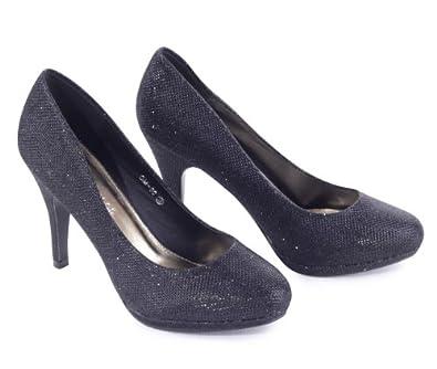 Glitzer Abend Hochzeit Schuhe Pumps High Heels, Größe:41;Farbe:Schwarz