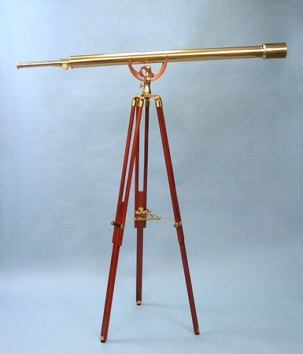 55-Inch Clear Coated Solid Brass Harbormaster Telescope On Mahogany Tripod