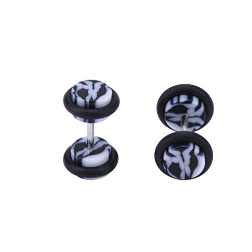 IPINK Fake Cheater Plugs Black & White Marble Acrylic 16G (1.2mm) Studs - 0G(8mm) Gauge Look 2 Pcs