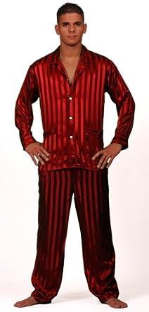 Intimo Men's Solid Jacquard Stripe Silk Pajama, Red, Small