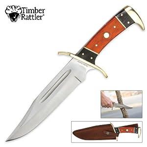 """Timber Rattler 12"""" Dark Pakka Confederate CSA Bowie Knife"""