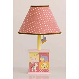CoCaLo Tropical Punch Pink and Yellow Girls Lamp with White Polka Dots Shade