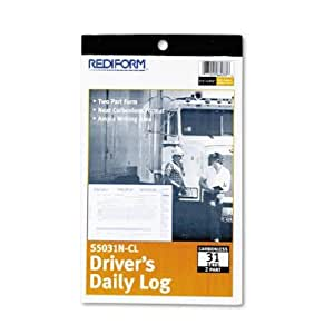 "BLUELINE Rediform Driver's Daily Log Book, Carbonless, 5.375 x 8.75"", 31 Duplicates (S5031NCL)"