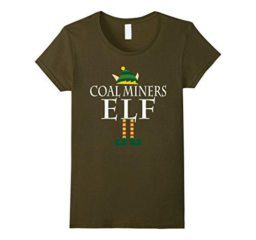 [Women's Coal Miners Elf Shirt - Funny Christmas Costume Gift Small Olive] (Coal Miner Costume)