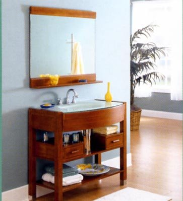 Ancahra by DecoLav 5112T-8CW-WH Ancahra White Frosted Tempered Glass Lav w/Wood Base Mirror Cherry