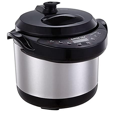 This pressure cooker includes a removable and durable aluminum cooking pot with DuPont Teflon® non-stick coating; stainless steel outer body with cool touch handles; stainless steel self-locking lid with rubber gasket, floating valve, anti-blocking c...