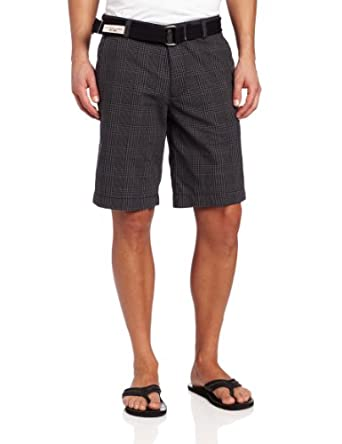 U.S. Polo Assn. Men's Flat Front Plaid Short, Black, 33
