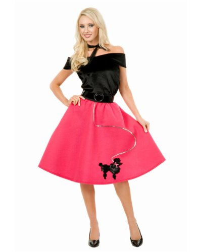 Womens Sexy Bubblegum Pink Poodle Skirt 50s Sock Hop Costume