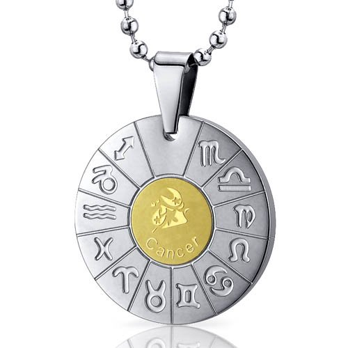 Cancer Crab Sign Zodiac Symbol Stainless Steel Circle Pendant Necklace