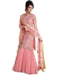 Sancom Pink Semi Stitched Net & Georgette Lehenga Salwar Kameez