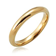 buy Funrun 7-Domed Polished Stainless Steel Simple Wedding Ring Bands 3Mm Gold-Tone