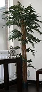Homescapes - 5 Feet Bamboo Tree - Real Wood Stems and Lifelike Leaves Replica Artificial Plant