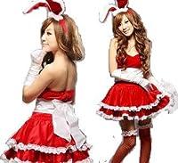 サンタ クリスマス コスプレ 衣装 コスチューム うさ耳カチューシャ付サンタバニーコスチューム4点セット/赤/コスプレ/c13