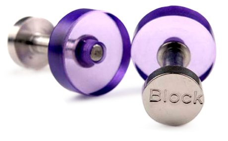 Block Acrylic And Stainless Steel Violet Purple Cufflink