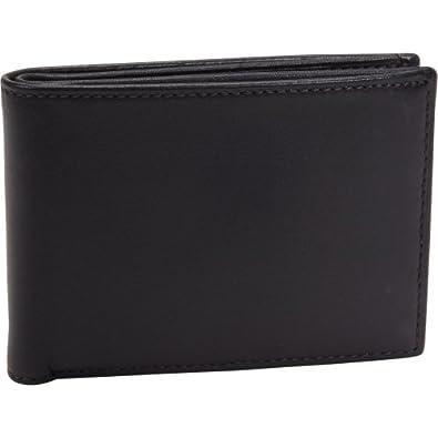 Bosca Men's Nappa Vitello Small Bifold Wallet, Black