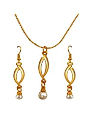 Surat Diamonds Drop Shape Real Pearl & Gold Plated Pendant With Chain & Earring Set For Women (SDS144)