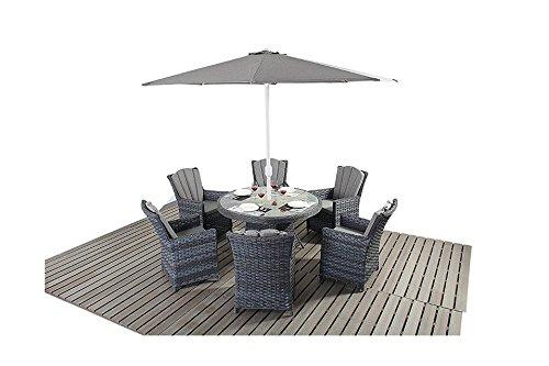 Manhattan grau Rattan Gartenmöbel 6-Sitzer rund Esstisch Stuhl Set