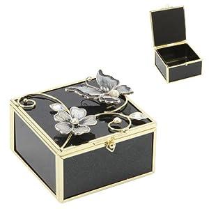 Juliana Glass Trinket Box Black and Teal Butterfly Glitter Brand New