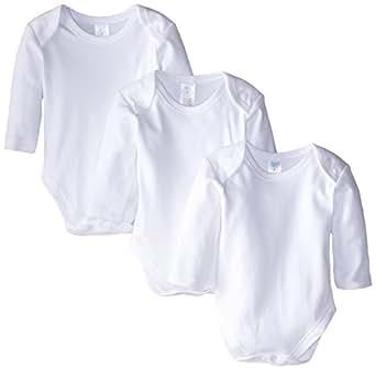 Spasilk 100% Cotton Long Sleeve Lap Shoulder 3 Pack Bodysuit   White, 18 Months