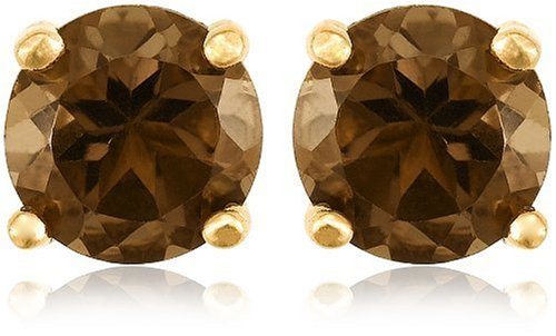 Gold Plated Sterling Silver 4mm Round Smoky-Quartz Stud Earrings