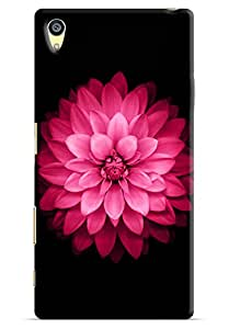 Omnam Pink Rose With Black Printed Designer Back Cover Case For Sony Xperia Z5 Premium
