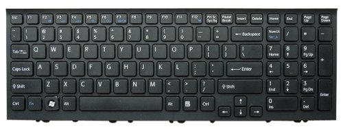 Laptop Replacement Keyboard With Frame For Sony Vaio Vpcee Vpc-Ee Pcg-61511L Pcg-61611L Series, Us Layout / Black Color