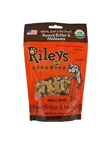 Riley's Organics - Peanut Butter & Molasses - 5 oz Small Biscuits - Human Grade Organic Dog Treats - Resealable Bag