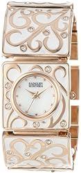 Badgley Mischka Women's BA/1234WMRG Swarovski Crystal Accented Rose Gold-Tone White Enamel Bracelet Watch