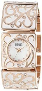 Badgley Mischka Women's BA/1234WMRG Swarovski Crystal Accented Rose Gold-Tone White Enamel Bracelet Watch