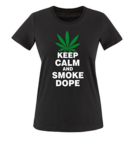 Comedy Shirts Women's Keep Calm And Smoke Dope T-Shirt