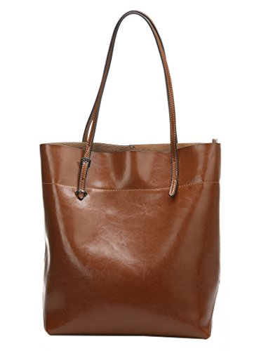 Melete Women's Handbag Genuine Leather Tote Shoulder Bags Soft Hot Brown (Leather Italian Handbags compare prices)
