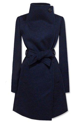 Romwe Women'S Fashion Style Long Sleeves Woolen Lapel Coat-Dark Blue-M front-585521