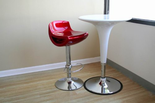 Delta Adjustable Bar Stool in RED plastic with Chrome Swivel and Lift Base