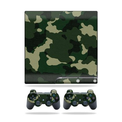 Protective Vinyl Skin Decal Cover for Sony Playstation 3 PS3 Slim Skins + 2 Controller Skins Sticker Green Camo