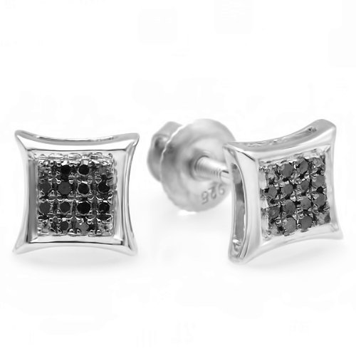 0.10 Carat (ctw) Sterling Silver Black Round Diamond Micro Pave Setting Kite Shape Stud Earrings