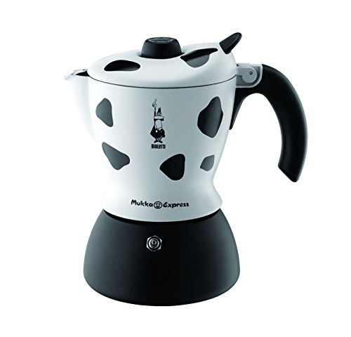 Bialetti Mukka Express - Stove Top Cappuccino/Latte Coffee Maker - With Built-In Milk Frother - 2 Cup - Cow Print
