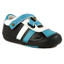 Momo Baby Boys First Walker/Toddler Z-Strap Sneaker Black/Blue Leather Shoes - 7 M US Toddler