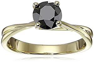 10k Yellow Gold Black Diamond Solitaire Ring (1 cttw), Size 5