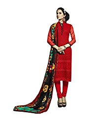 Amyra Women's Chiffon Dress Material (AC796-02, Red)