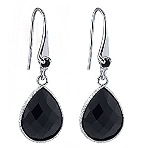 12.00 Ct Round Black Diamond and 16x12mm Pear Shape Onyx Silver Dangle Earrings
