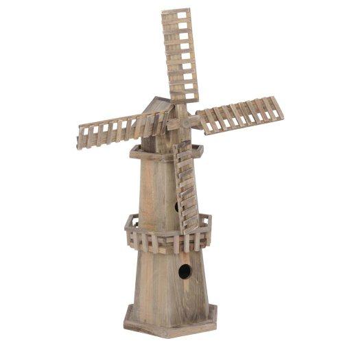 Wooden Windmill Bird House Garden Ornament