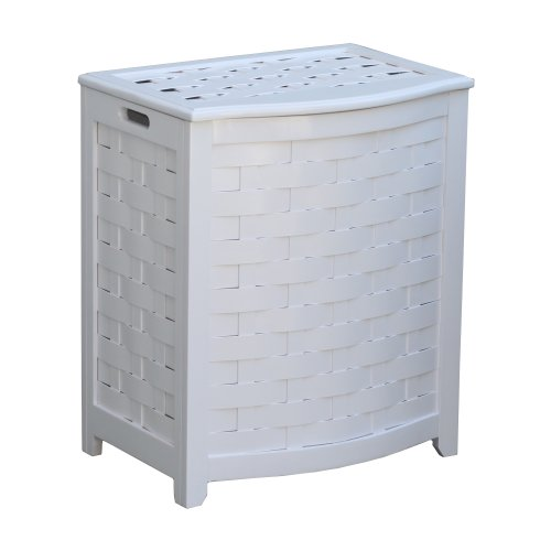 Oceanstar BHV0100W Bowed Front Veneer Laundry Wood Hamper, White Finished (Oceanstar Design Kitchen Cart compare prices)