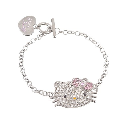 Hello Kitty Silver Tone Crystal Charm Bracelet