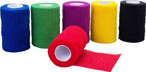 Höga Haft Color, farbige, kohäsive, elastische Fixierbinden - 6 cm x 4 m gedehnt - unsortierte Farben 3er-Pack