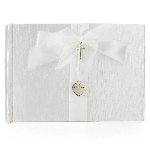 Silver Cross & Heart Christening Guest Book, gift