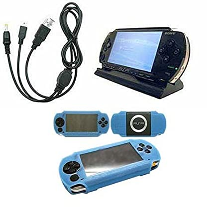Baby Blue Skin Silicon Cover for Sony Playstation + 2 in 1 Data Cable Charger + Desktop Charger Cradle for Sony PSP