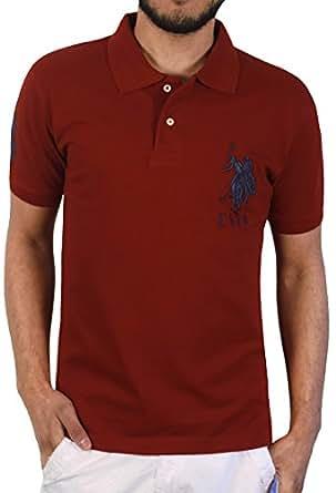 U.S. Polo Assn. Men's Solid Short Sleeve Pique Polo, Barn Red, Small