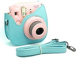 Woodmin Blue PU Leather Fujifilm Instax Mini 8 case bag + Free Shoulder Strap