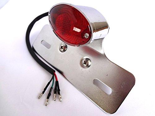 猫目に光る  汎用 LED キャッツアイ テール ランプ ナンバーステイ 付き   ( シルバー )